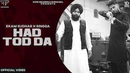 Hadd Tod Da Lyrics Ekam Sudhar x Singga