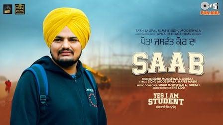 Saab Lyrics Sidhu Moose Wala | Yes I Am Student